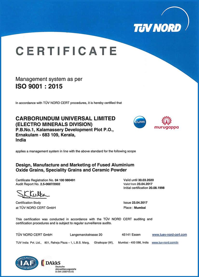 Certifications Cumi Emd